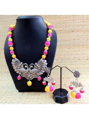 Silk thread jewellery with Oxidised