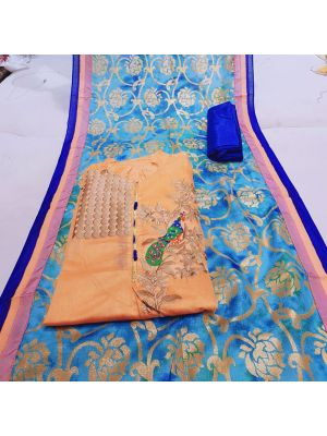 Orange And Blue Colour Chanderi Silk Churidar Dress Material Embroidery With Stone Work