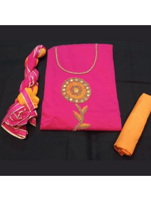 Chanderi Silk Suit Material With handwork On Pink And Orange