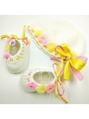 Cap and Booties Set ( White, Pink and Yellow Color Combination) New Born Girl Baby