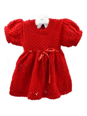 Woolen Lace Frock With Red Color