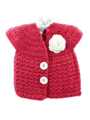 Crochet Shrug Coral Red
