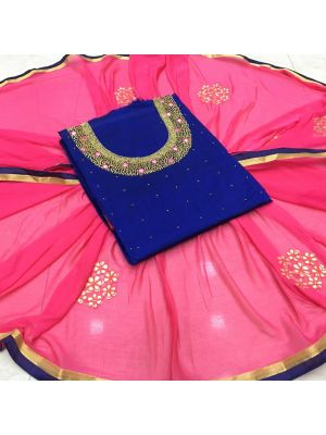 Dark Blue and Pink Colour Embroidered Salwar Suit Dupatta Material