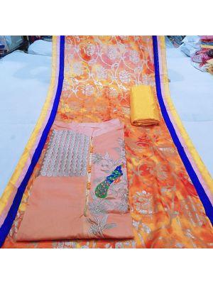 Orange Colour Chanderi Silk Churidar Dress Material Embroidery With Stone Work