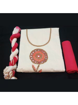 Chanderi Silk Suit Material with handwork On Cream And Pink.