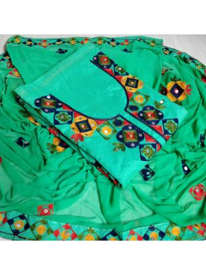 Cyan Blue Colour Top Chanderi Silk Ariwork With Inner