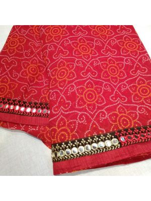 Red Chunri Georgette Saree With Mirror Border Work