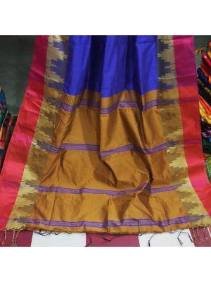 Blue With Brown Handloom Saree