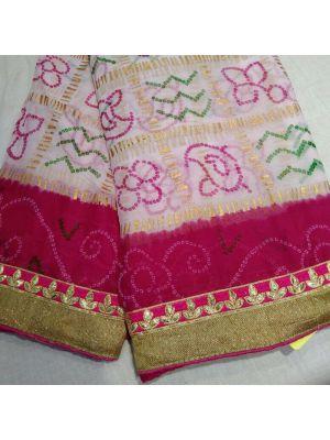 Fabric Georgette chunri gharchola Saree With Pink Border