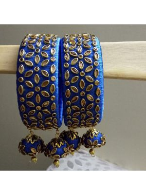 Silk Thread Royal Blue Bangle
