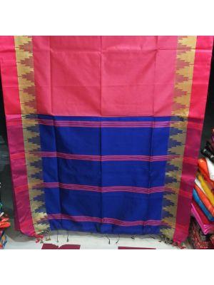 Blue With Pink Handloom Saree
