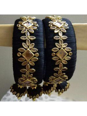 Silk Thread Black Bangle
