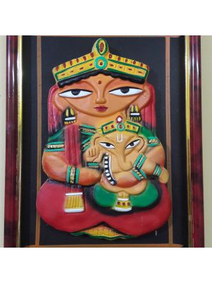 Terracotta Durga and Ganesha Photo frame.