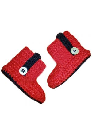 Red And Black Crochet  Baby Shoes