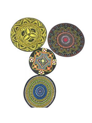Set Of 4 Australian Aboriginal Art Wall Plate Decor