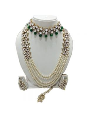 Five Layer Kundan And Green & White Pearl Combination Choker And Longer Necklace Set