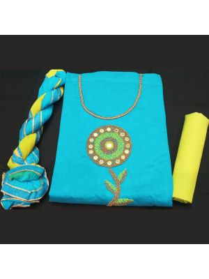Chanderi Silk Suit Material with handwork On Sky Blue And Yellow
