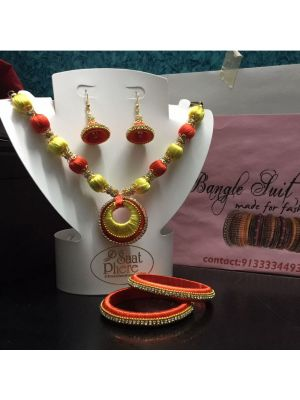 Yellow with Orange Silk Thread Necklace Set