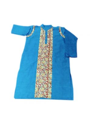 Gents Blue Patch Work Kurta