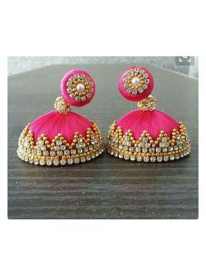 Pink Silk Threaded Jhumka Earring