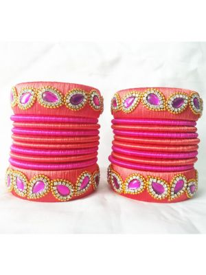 Pink Color Silk Thread Bangles