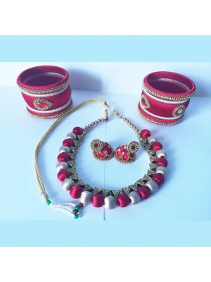 Pink And White Silk thread Jewellery Set