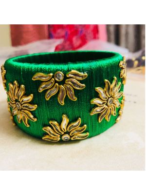 Silk Thread Green Bangle