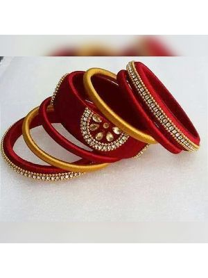 Silk Thread Bangles with Red and Yellow color combination