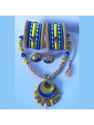 Blue And Yellow Color Silk Thread Jewellery Set