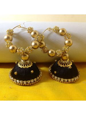 Black with Gold Silk Threaded Jhumka Earring