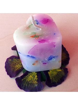 Perfumed heart shape chunk candles.