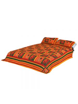 Jaipuri Traditional Sanganeri Cotton Double Bed Sheet(Multi Color, King Size)