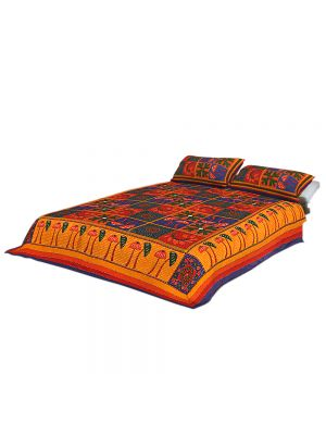 100% Cotton Rajasthani Jaipuri sanganeri Traditional King Size Double Bed Sheet with 2 Pillow Covers