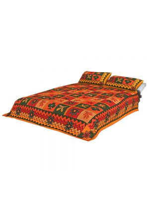 100% Cotton Rajasthani Tradition King Size Double Bedsheet with 2 Pillow Cover