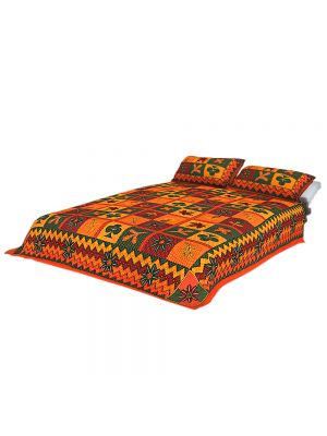 Jaipur House Rajasthani Culture Handwork Kantha work double bed sheet with 2 pillow cover,