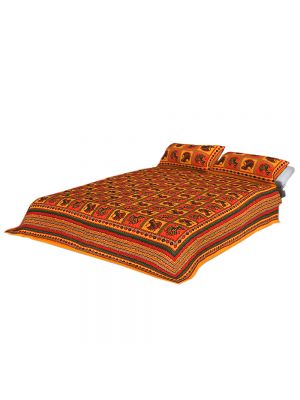 Pure Cotton Orange Fabric Katha Work Bed-sheet King Size With Two Pillow Covers