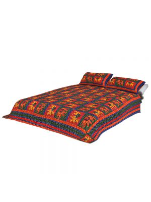 Jaipuri Cotton Kantha Work Embroidered Double Bed Sheet With 2 Pillow Covers