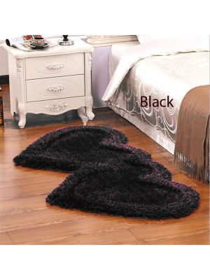 Black colour Heart shapes Bed side runner