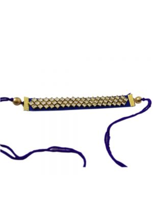 Handmade Blue And Gold Plated Stone Rakhi