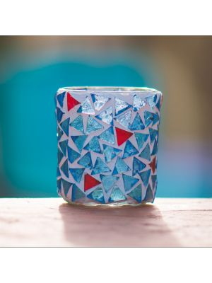 Light Blue and Red Candle Holder