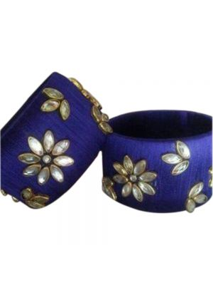 Hand Made Silk Thread Made Blue Golden Bangle.