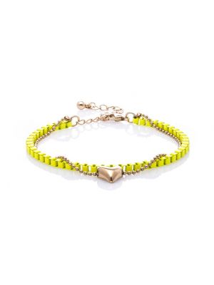 Neon Yellow Banded Heart Charm