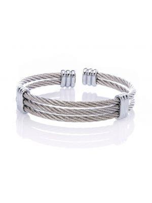 Twin Horsehair Link Stainless Steel Bracelet