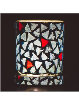 Attractive Blue and Red Mosiac Candle Holder