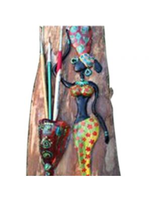 Tribal art brush holder