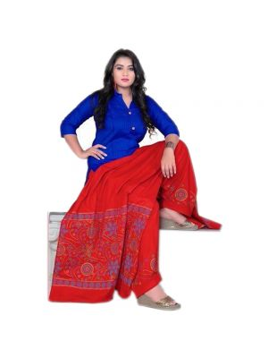 Ethnic Bandaj Design Patiyala With Combination Of Red And Dark Blue