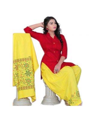 Ethnic Bandaj Design Patiyala With Combination Of Red And Yellow