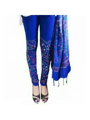 Blue Printed Legging With Matching Dupatta
