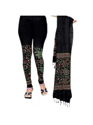 Black Color Printed Legging With Matching Dupatta