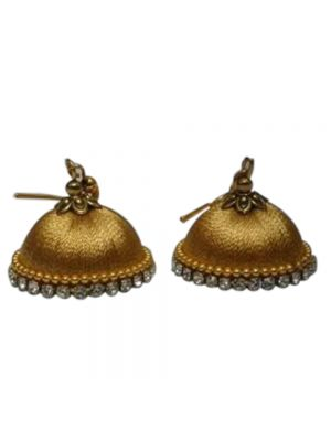 Handmade Golden Silk Threaded Traditional Jhumka